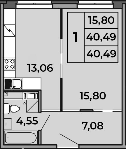 1-комнатная, 40.49 м²– 2