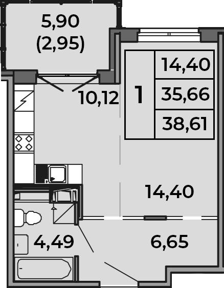 Студия, 38.61 м²– 2