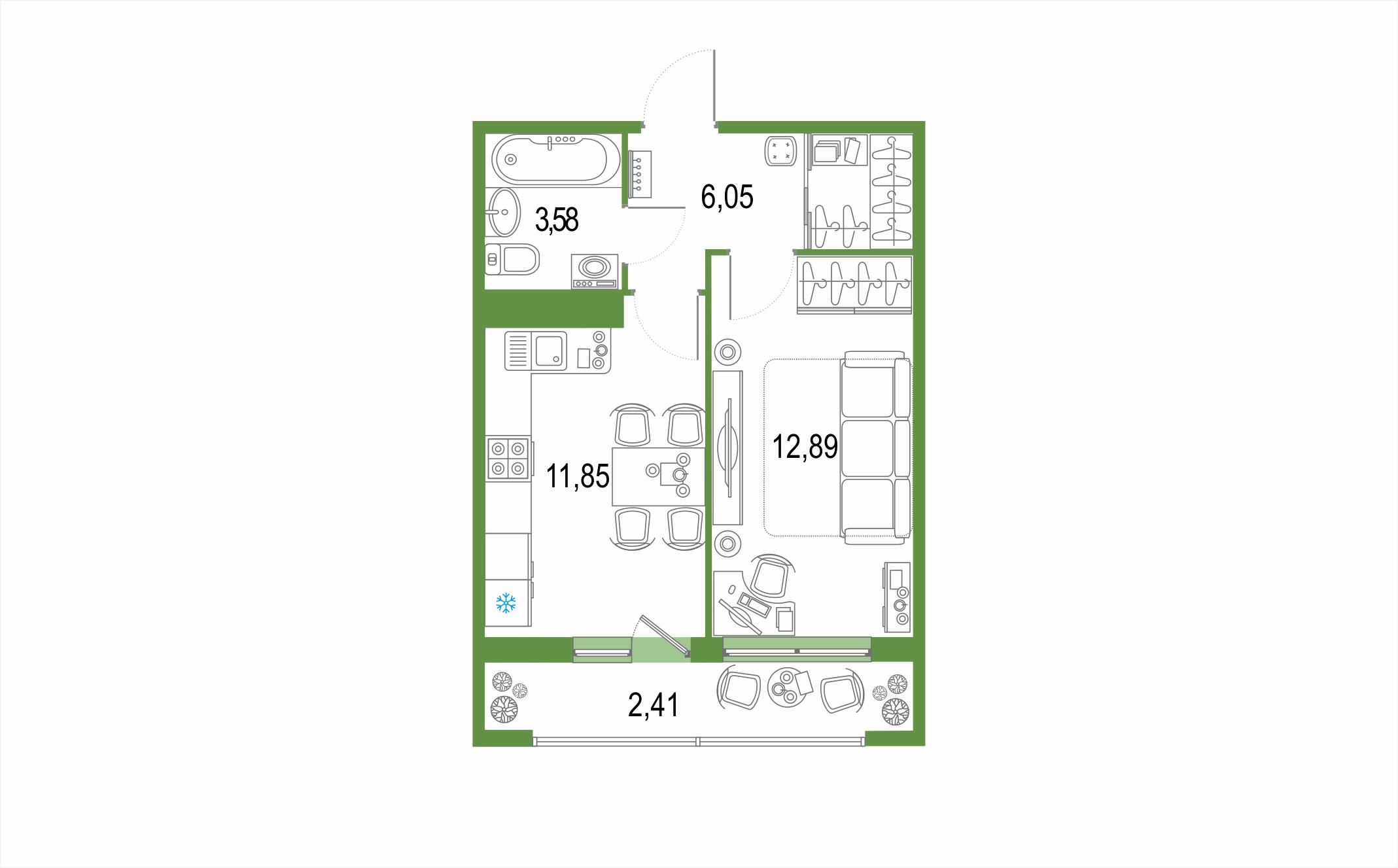 1-к.кв, 36.78 м², от 21 этажа