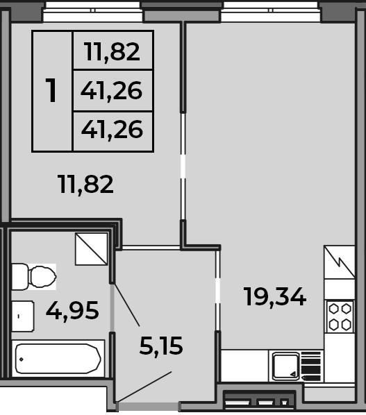 2Е-комнатная, 41.26 м²– 2