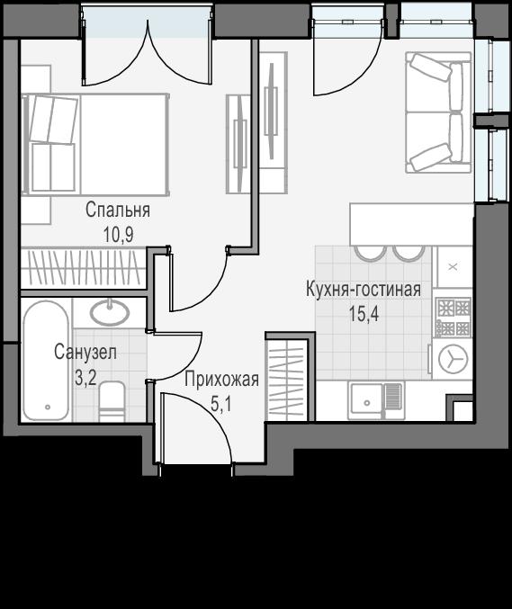2Е-к.кв, 34.6 м², 22 этаж