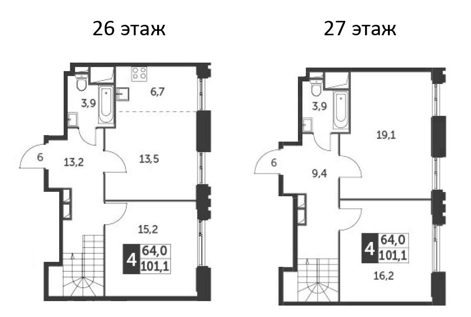 4Е-к.кв, 101.1 м², 26 этаж