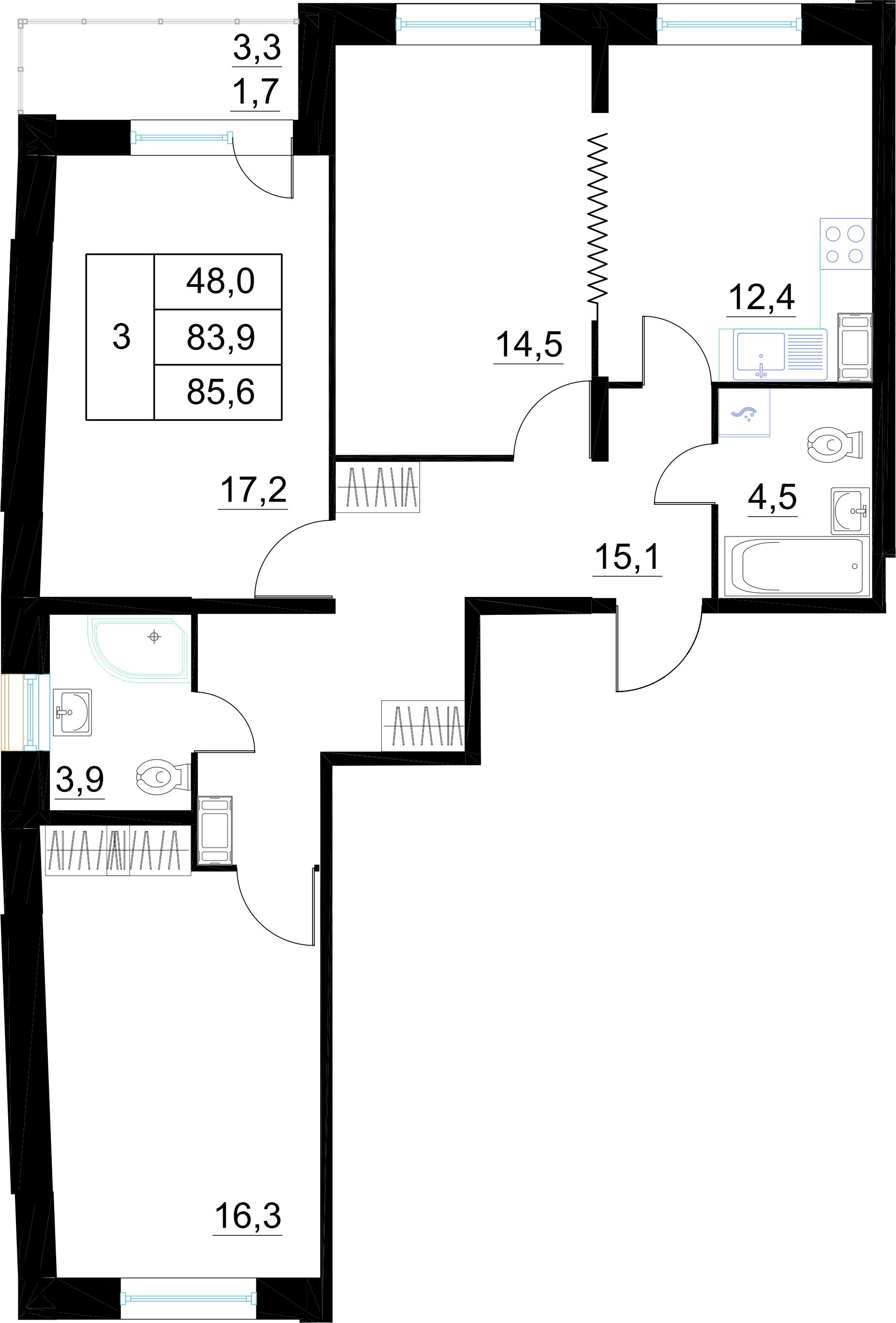3-комнатная, 85.6 м²– 2
