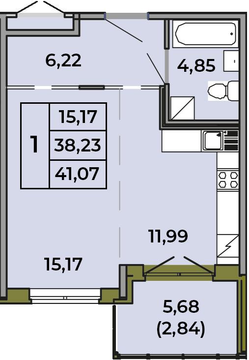 Студия, 38.23 м²– 2