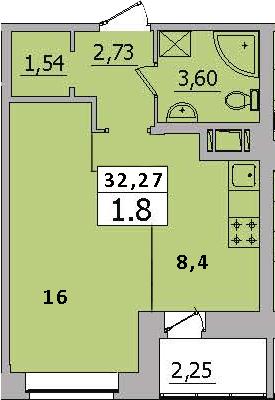 1-комнатная, 32.27 м²– 2