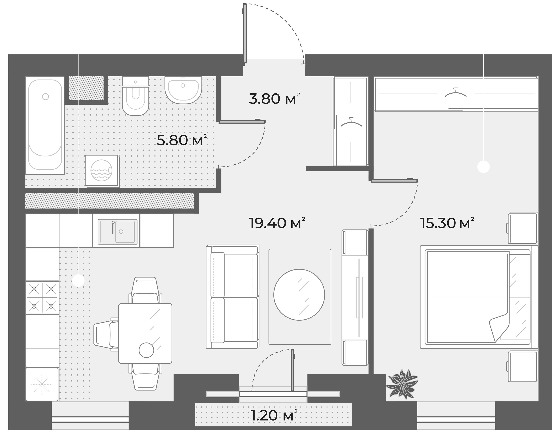 2Е-комнатная квартира, 44.3 м², 2 этаж – Планировка