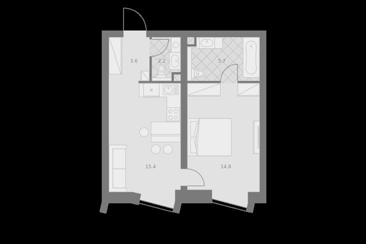 2Е-комнатная, 41.7 м²– 2