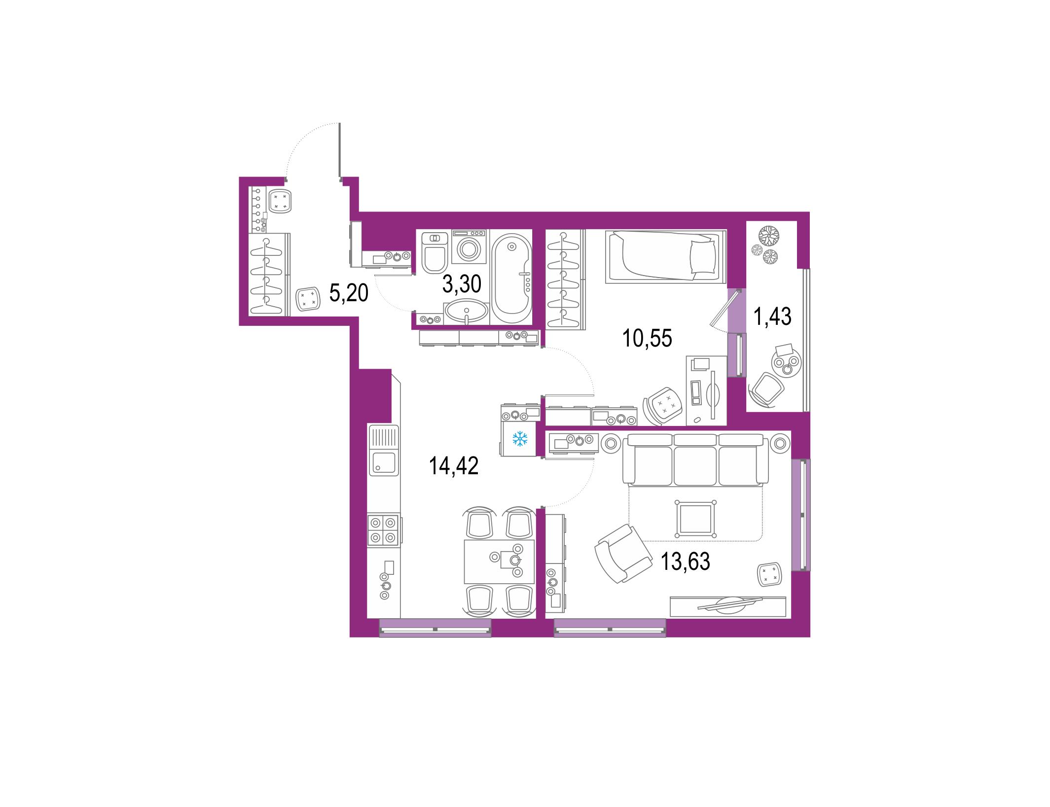 2-к.кв, 49.96 м²