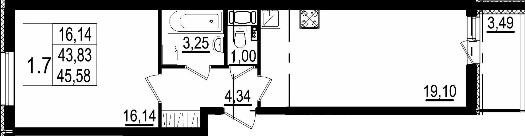 2Е-комнатная, 43.83 м²– 2
