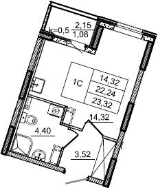 Студия, 23.32 м²– 2