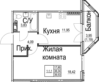 1-к.кв, 42.31 м²