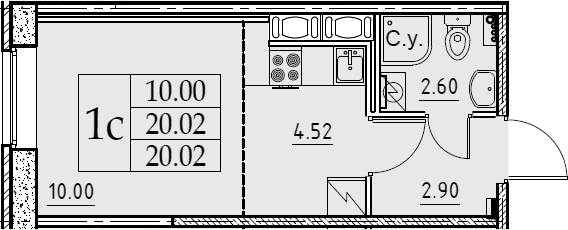Студия, 20.02 м²