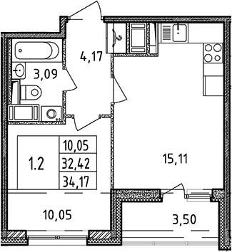 2Е-к.кв, 32.42 м², от 4 этажа