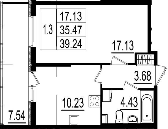 1-комнатная, 35.47 м²– 2