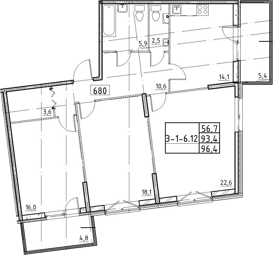 3-к.кв, 96.4 м²