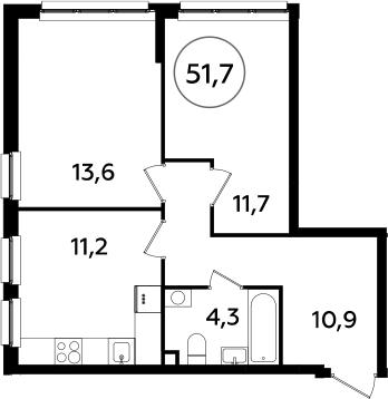 2-к.кв, 51.7 м²