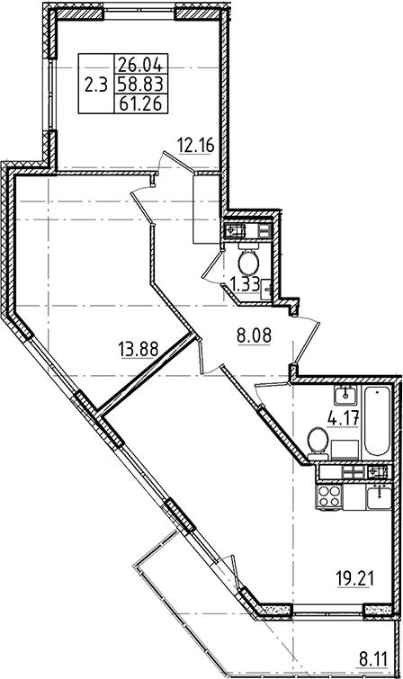 3Е-к.кв, 58.83 м², 3 этаж
