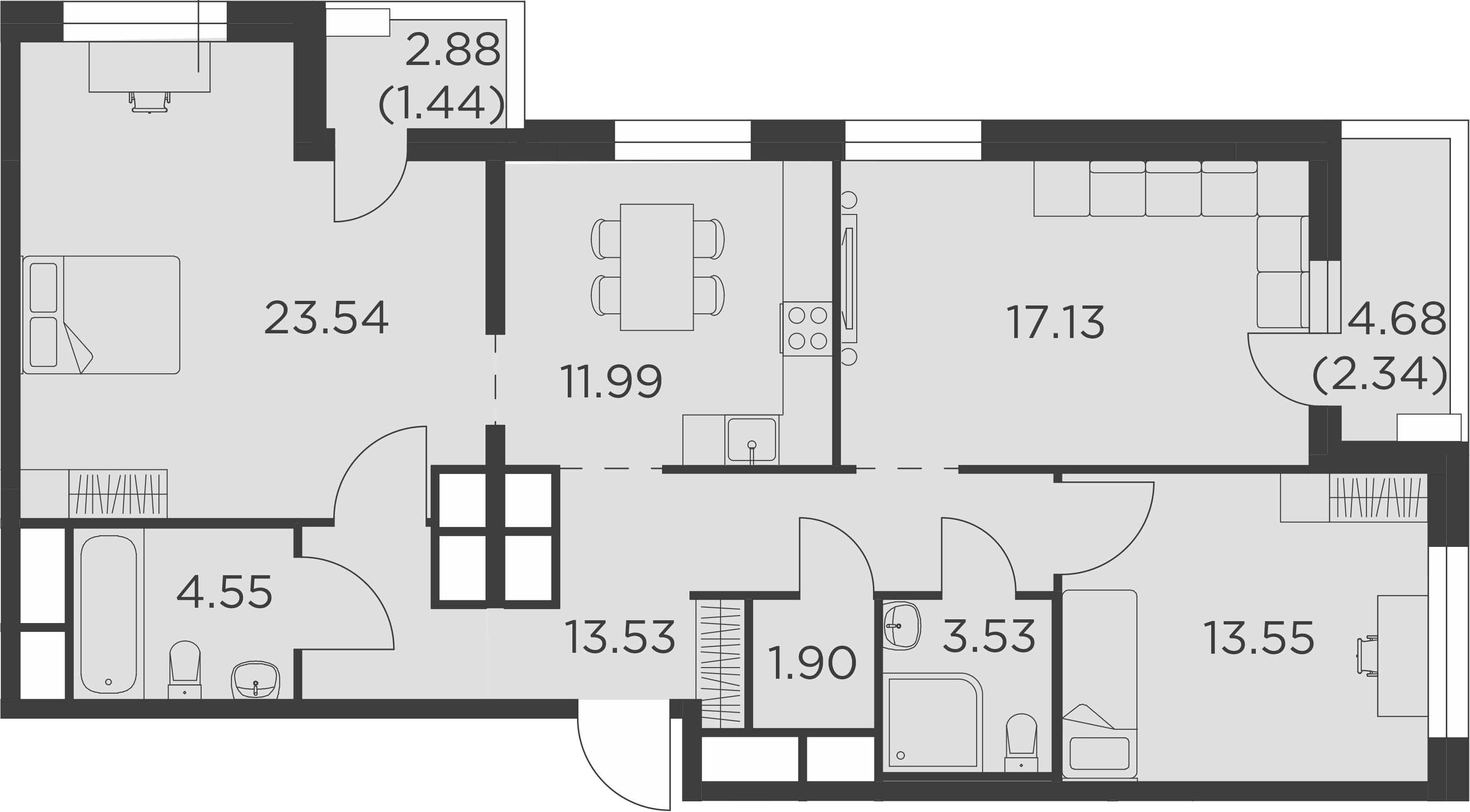 3-комнатная, 93.5 м²– 2