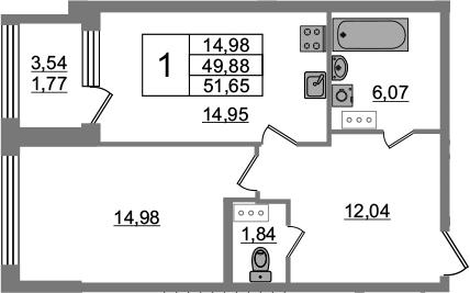 1-к.кв, 53.42 м²