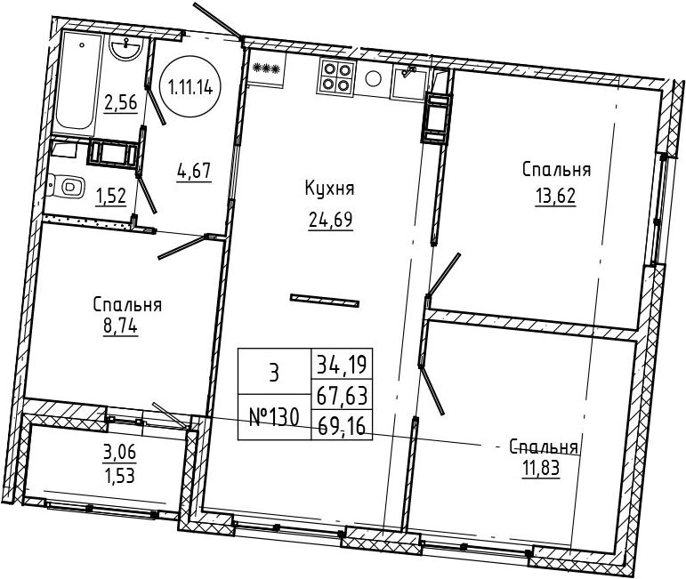 4Е-к.кв, 69.16 м², 11 этаж