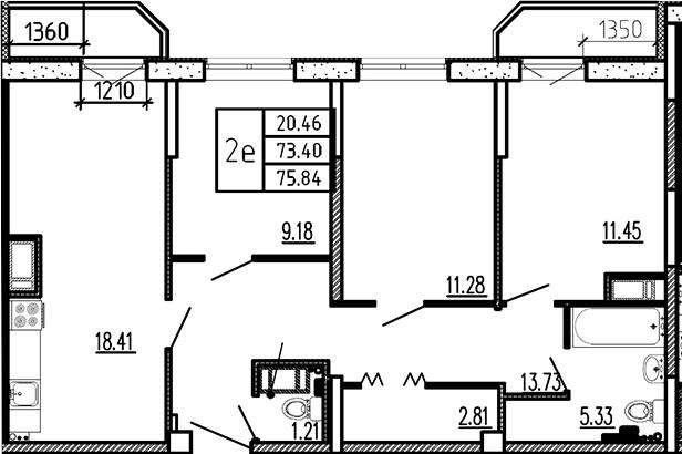 4-к.кв (евро), 78.28 м²