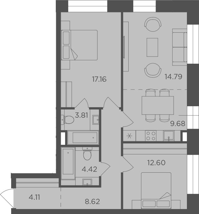 3Е-к.кв, 75.19 м², 11 этаж