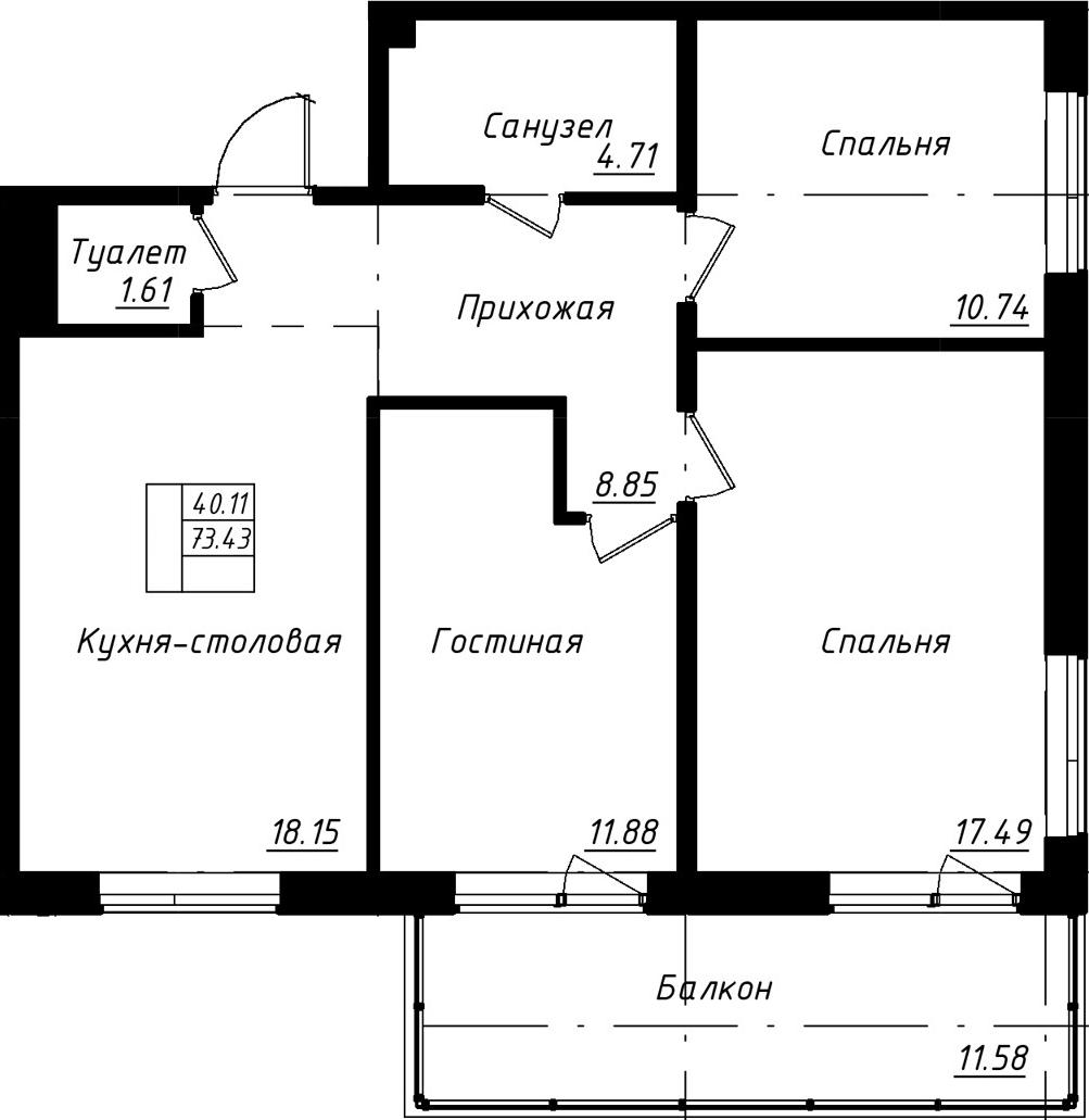 4-к.кв (евро), 85.01 м²