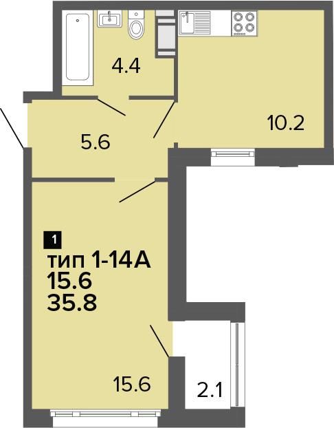 1-к.кв, 35.8 м², от 11 этажа