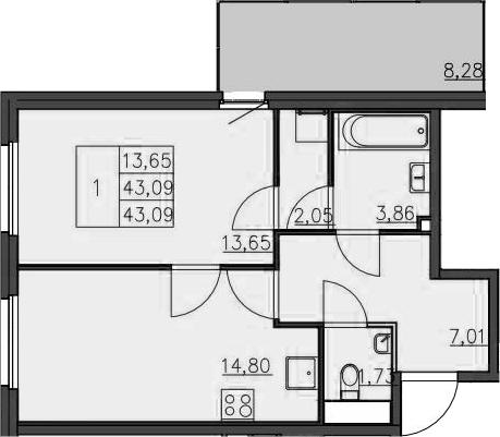 2-к.кв (евро), 51.55 м²