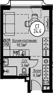Студия, 24.4 м², от 28 этажа