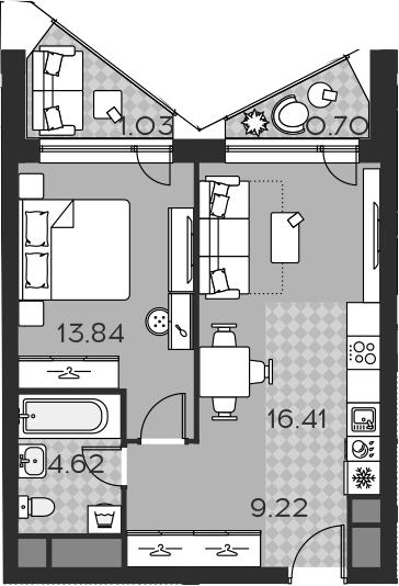 2Е-комнатная, 45.82 м²– 2