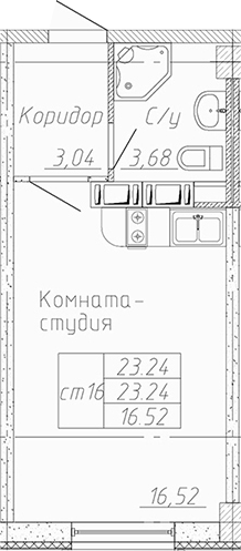 Студия, 23.24 м²