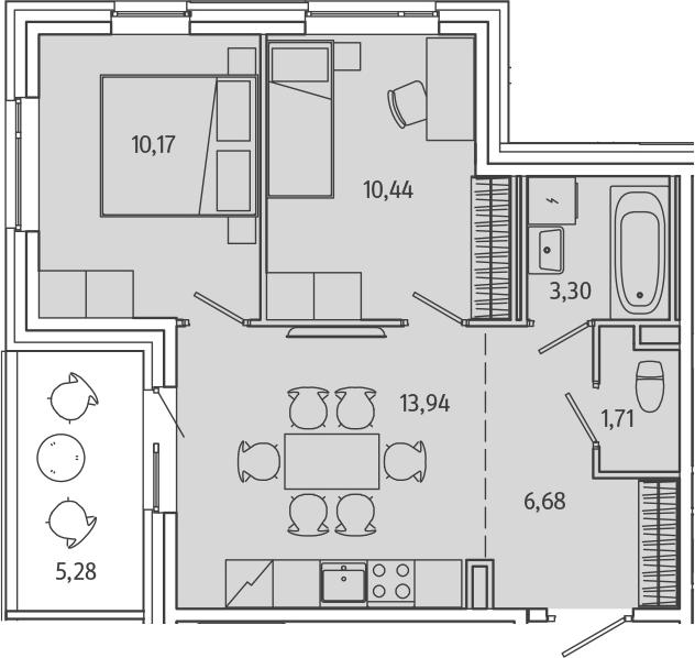 2-к.кв, 51.53 м²