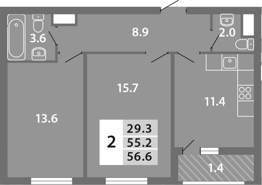 2-к.кв, 56.6 м², 10 этаж