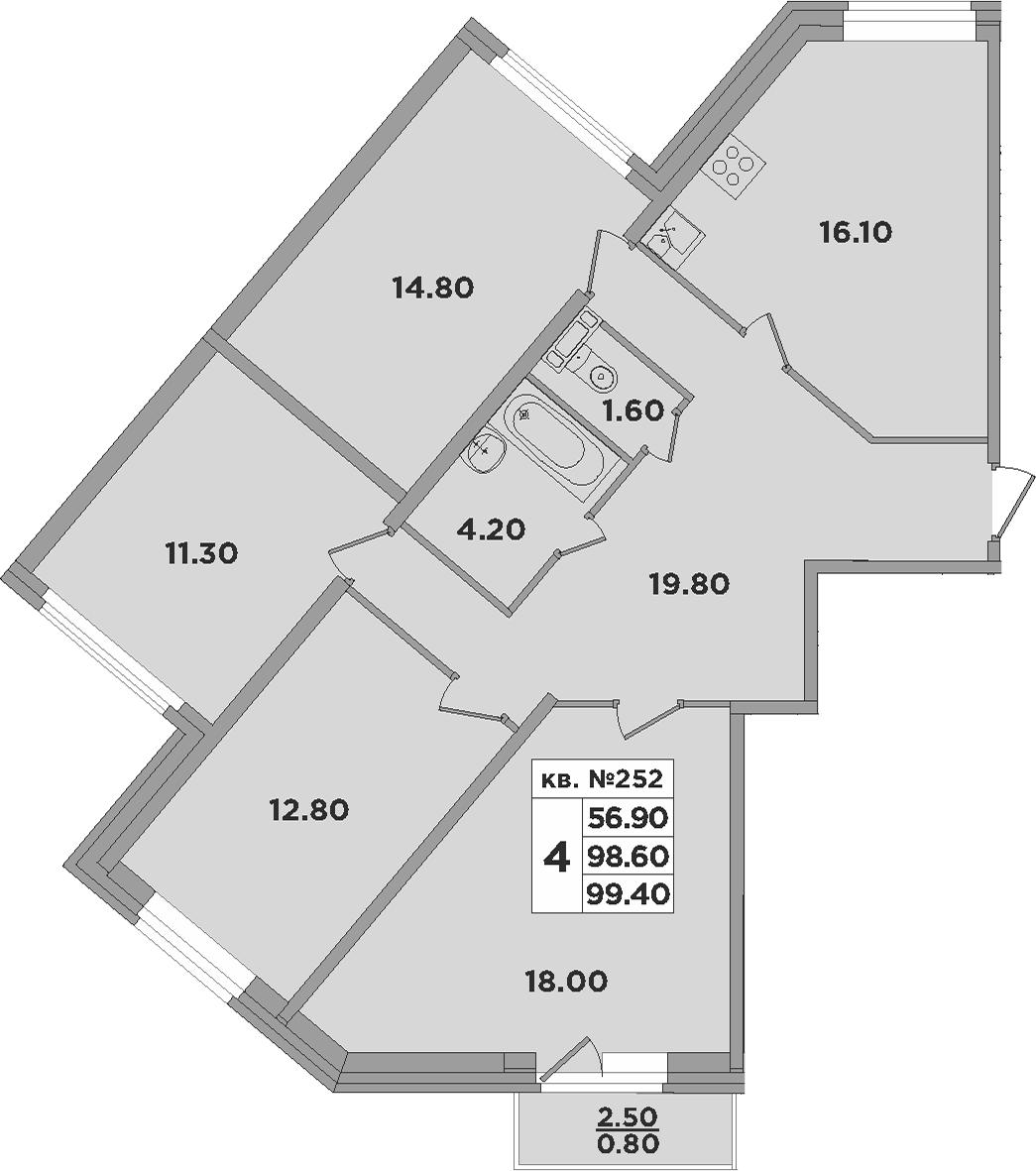 5-к.кв (евро), 101.1 м²
