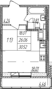 Студия, 26.06 м², 12 этаж