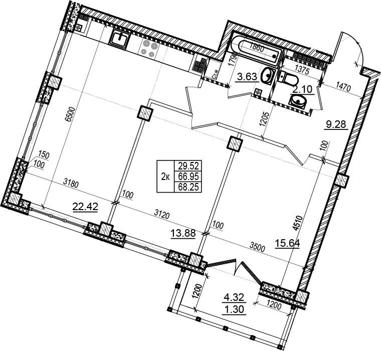 3Е-комнатная, 68.25 м²– 2