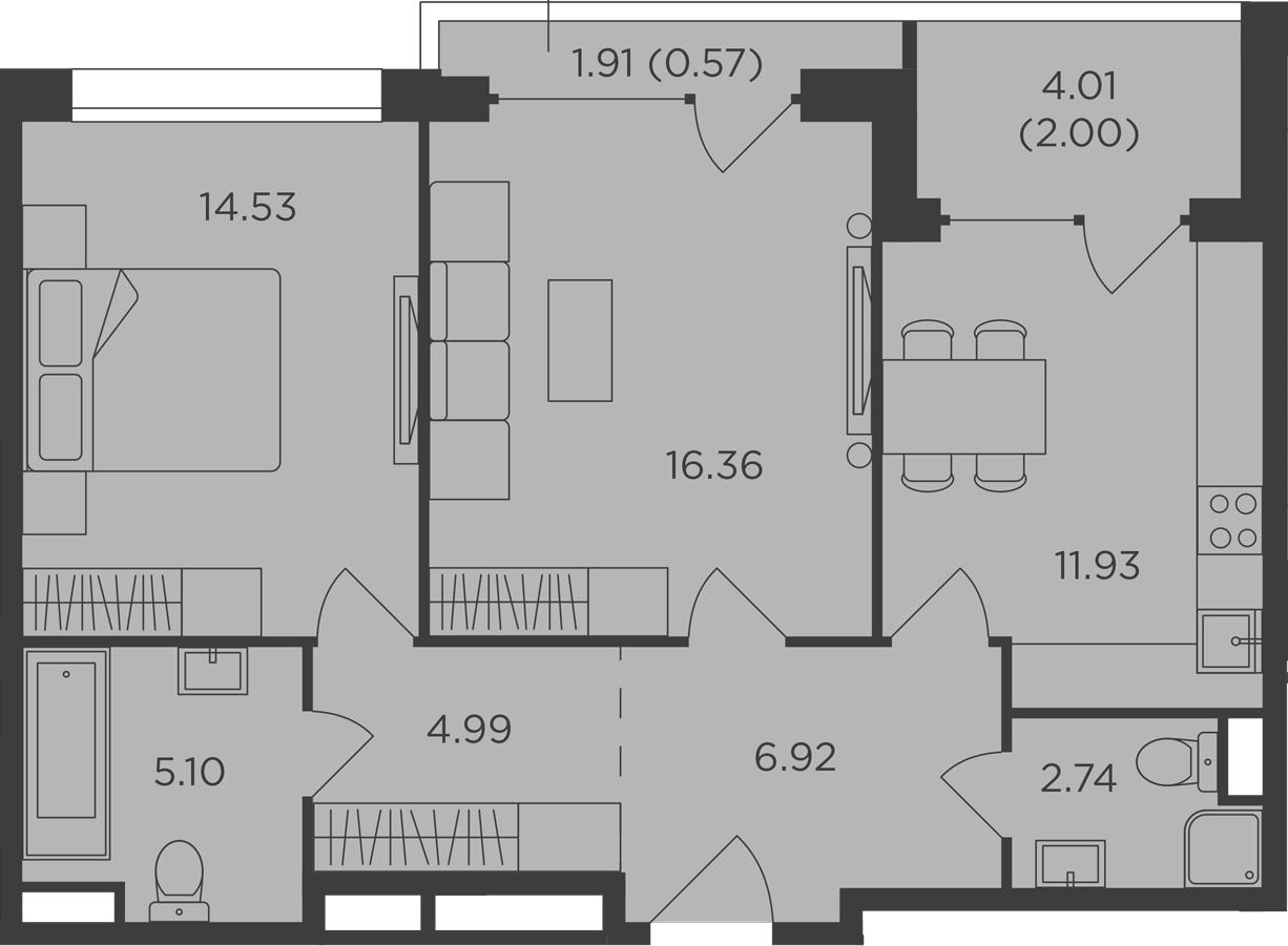 2-комнатная, 65.14 м²– 2