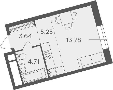 Студия, 27.38 м², 3 этаж