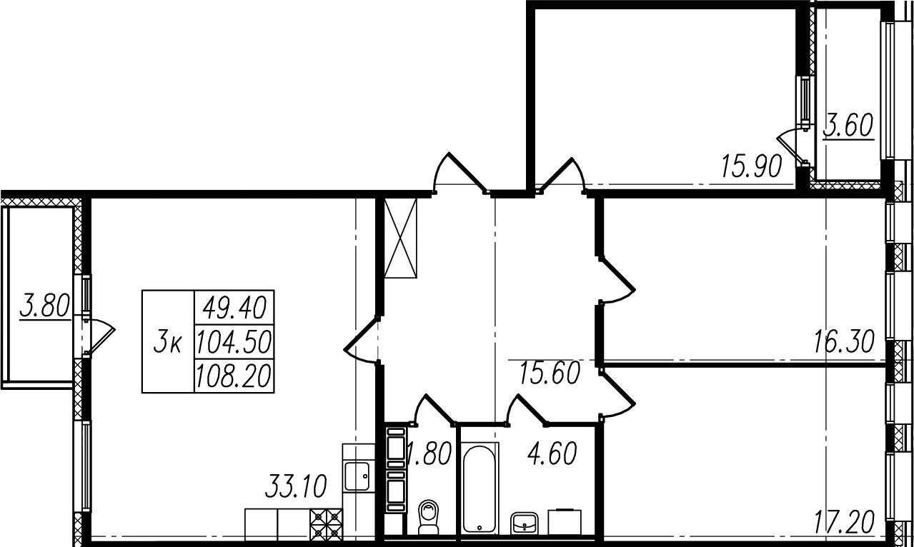 4Е-комнатная, 104.5 м²– 2
