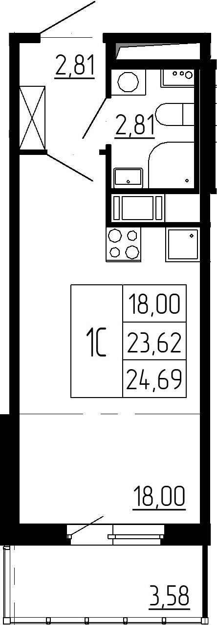 Студия, 26.91 м²