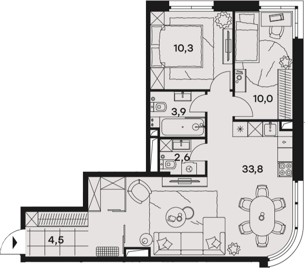 3Е-к.кв, 65.1 м², от 14 этажа