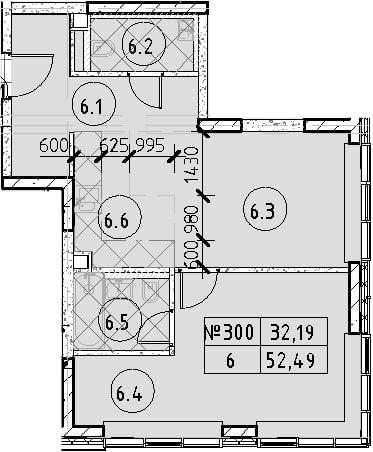 2Е-к.кв, 52.49 м², 33 этаж