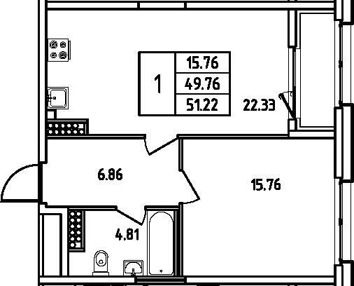 2Е-к.кв, 51.22 м²