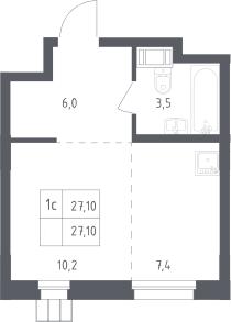 Студия, 27.1 м²– 2