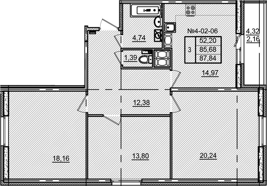 3-к.кв, 90 м²