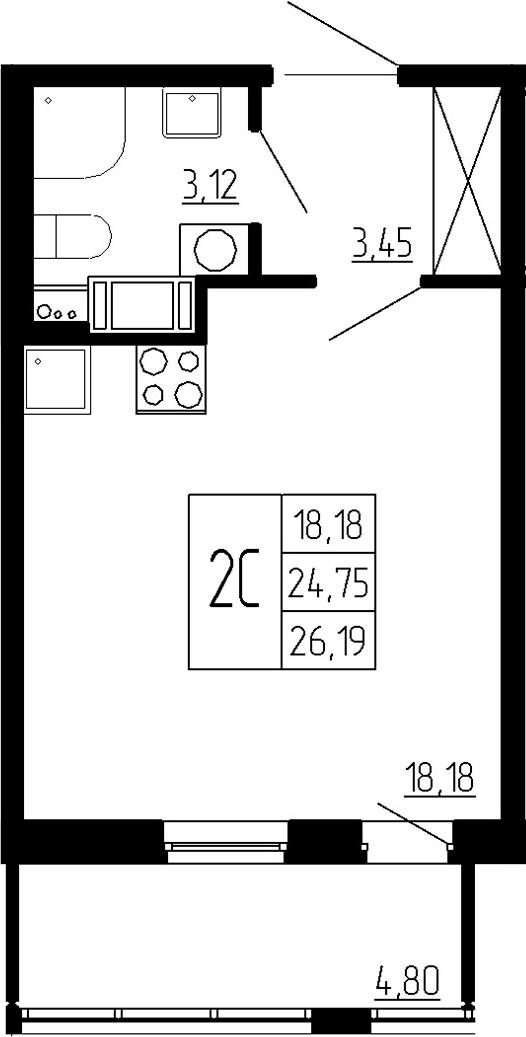 Студия, 24.75 м², от 3 этажа