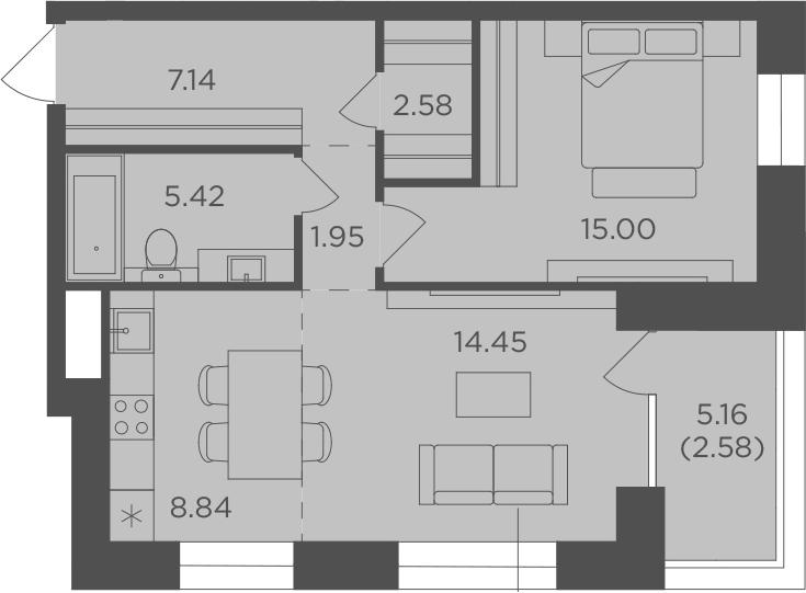 2Е-комнатная, 57.96 м²– 2