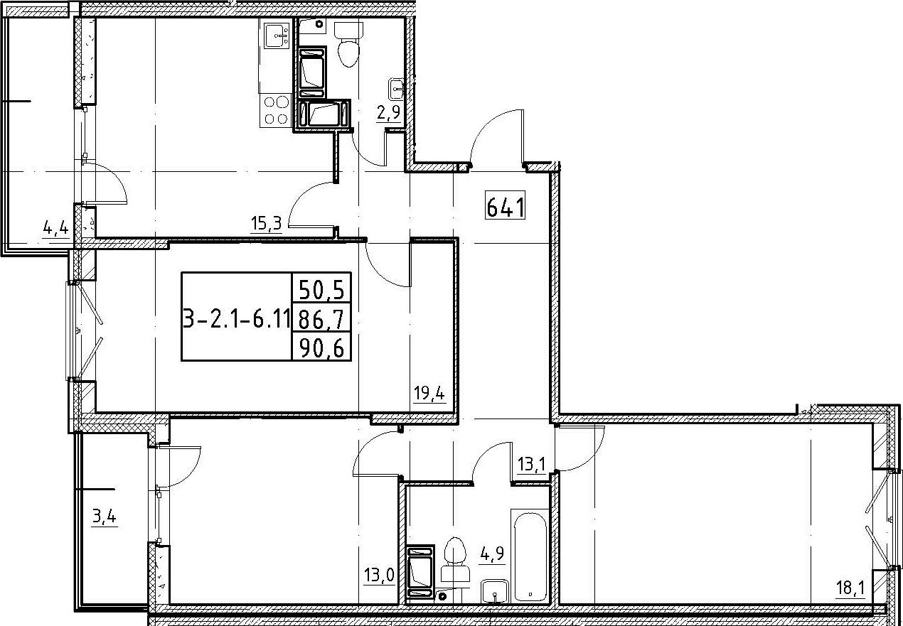 4Е-комнатная, 90.6 м²– 2