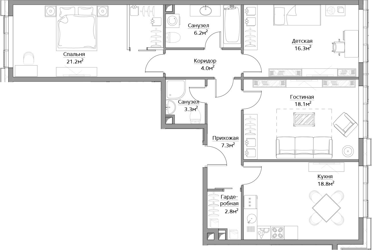 4Е-комнатная, 96 м²– 2
